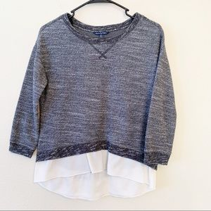 American Eagle Layered Knit Sweater Chiffon Hem